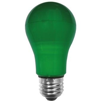 A19 55x108 LED E27 3W 230VAC green plastic cover-outdoor non-transparent 15Lm 270°