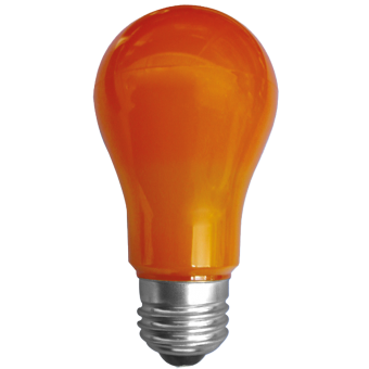 A19 55x108 LED E27 3W 230VAC orange plastic cover-outdoor non-transparent 180Lm 270°
