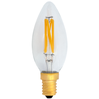 C35 Deco LED E14 240V 4W warmwhite 2700K bridge rect. clear cover 380lm dimmable / 4 string